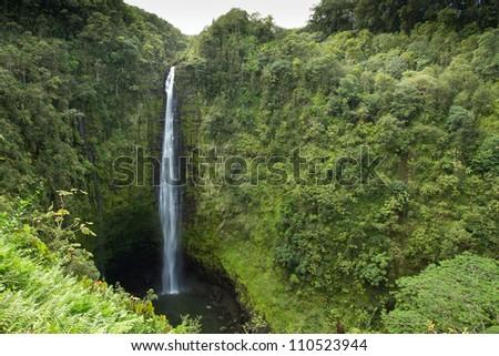 Huge waterfall over 400 feet in height on the Big Island Of Hawaii - stock photo