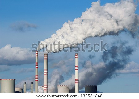 Huge white smoke from coal power plant - stock photo
