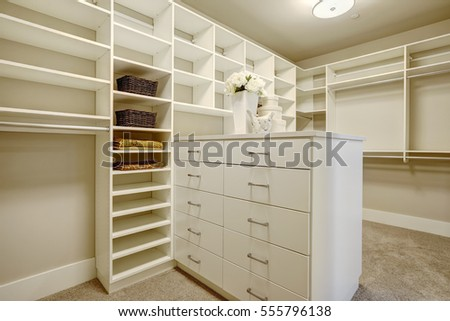 Huge White Walk In Closet With Shelves Drawers And Shoe Racks Northwest