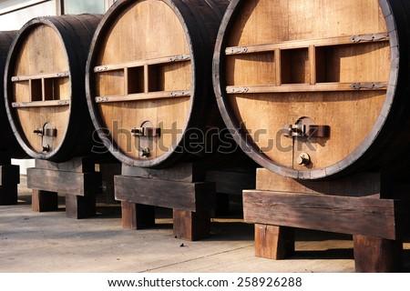 Huge wooden barrels. Large wooden casks of 5000 liters - stock photo
