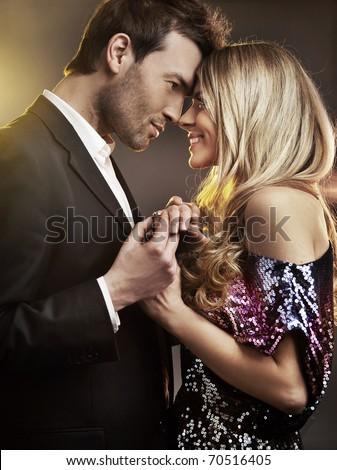 Hugging couple - stock photo