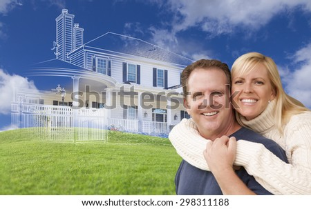 Hugging Couple with Ghosted House Drawing, Partial Photo and Rolling Green Hills Behind.