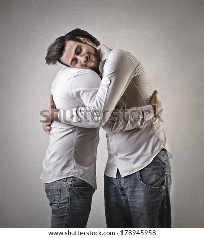 hugging friends - stock photo