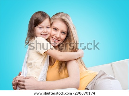 Hugging, mom, child. - stock photo
