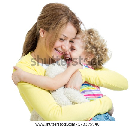 hugging mother and kid girl - stock photo