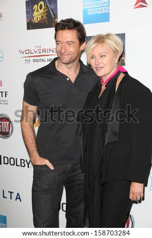 "Hugh Jackman and Deborra-Lee Furness at Hugh Jackman ""One Night Only,"" Dolby Theater, Hollywood, CA 10-12-13 - stock photo"