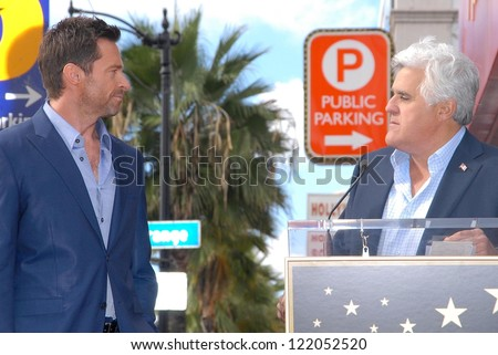 Hugh Jackman and Jay Leno at the Hugh Jackman Star on the Hollywood Walk of Fame Ceremony, Hollywood, CA 12-13-12 - stock photo