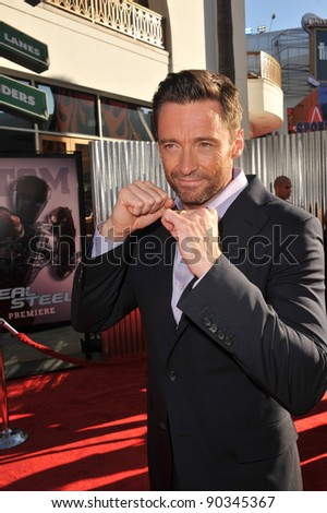 "Hugh Jackman at the Los Angeles premiere of his new movie ""Real Steel"" at Universal Studios Hollywood. October 2, 2011  Los Angeles, CA Picture: Paul Smith / Featureflash - stock photo"