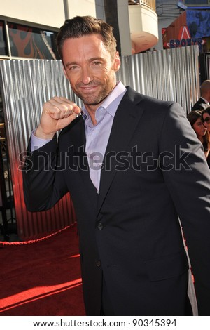 """Hugh Jackman at the Los Angeles premiere of his new movie """"Real Steel"""" at Universal Studios Hollywood. October 2, 2011  Los Angeles, CA Picture: Paul Smith / Featureflash - stock photo"""