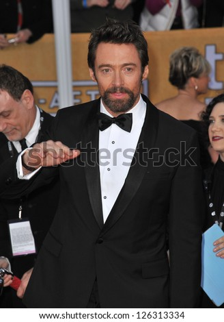 Hugh Jackman at the 19th Annual Screen Actors Guild Awards at the Shrine Auditorium, Los Angeles. January 27, 2013  Los Angeles, CA Picture: Paul Smith