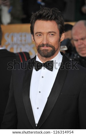 Hugh Jackman at the 19th Annual Screen Actors Guild Awards at the Shrine Auditorium, Los Angeles. January 27, 2013  Los Angeles, CA Picture: Paul Smith - stock photo