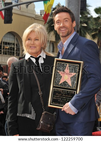 Hugh Jackman & wife Deborra-Lee Furness is honored with the 2,487th star on the Hollywood Walk of Fame. December 13, 2012  Los Angeles, CA Picture: Paul Smith - stock photo