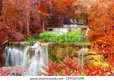 Hui Mae Khamin waterfall in deep forest, Thailand - stock photo