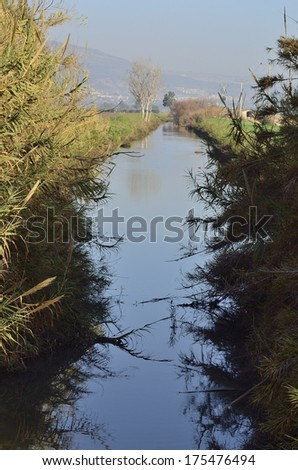 Hula Agamon Lake West channel reflected in water in winter - stock photo