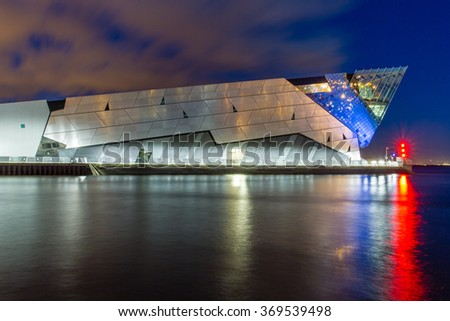 HULL, ENGLAND - OCTOBER 16: The Deep is a public aquarium situated at Sammy's Point, at the confluence of the River Hull and the Humber estuary on October 16 2012 in Hull, England. - stock photo