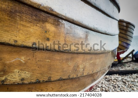 Hull of a wooden fishing boat - stock photo