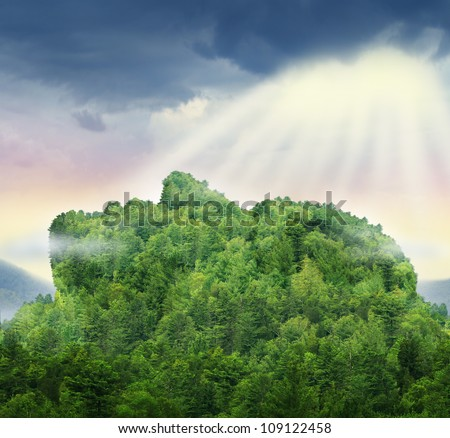 Human achievement and the power of personal success in business as a mountain of trees in the shape of a head and face with glowing sun light above the clouds as a symbol of hope for the future. - stock photo