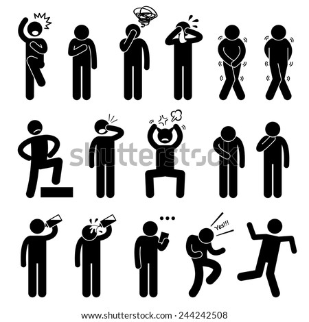 Human Action Poses Postures Stick Figure Pictogram Icons - stock photo