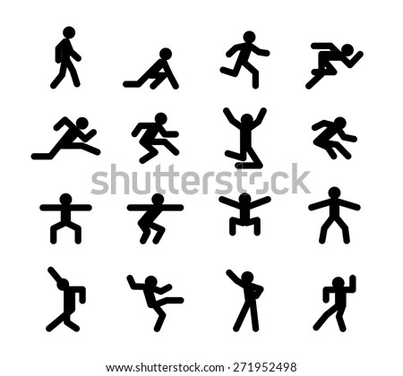 Human action poses. Running and walking, jumping and squatting, dancing, athletics, start and acceleration, jog