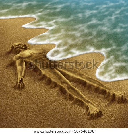 Human aging and disease as a body sculpted from sand on the beach with the ocean washing it away with the tide as a medical concept of loss due to age and illness as  dementia or terminal cancer. - stock photo