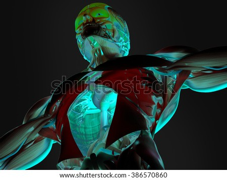 Human anatomy 3D futuristic technology scan.Torso and head. Vibrant colors. Biological information. Sci-fi - stock photo