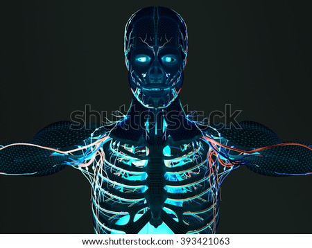 Human anatomy wire frame mesh futuristic scan vivid colors. Body construction sci-fi interface.