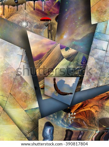 Human and animal elements combine in this abstract - stock photo