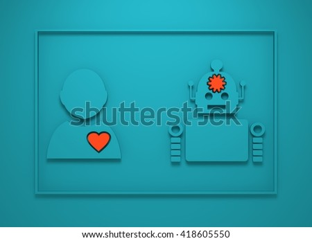 Human and robot diversity. Robotics industry relative image. Heart icon inside man silhouette. Gear brain droid. 3D rendering - stock photo