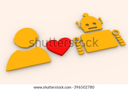 Human and robot relationships. Robotics industry relative image. Heart icon between robot and human. 3D rendering - stock photo
