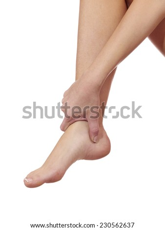 Human Ankle pain with an anatomy injury caused by sports accident or arthritis as a skeletal joint problem medical health care concept.