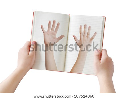 Human arms diary concept, isolated on white - stock photo