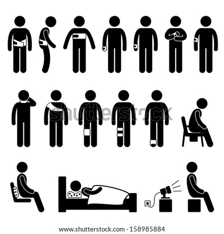 Human Body Support Equipment Tools Injury Pain Stick Figure Pictogram Icon