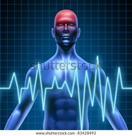Human body with a head ache of the brain with a migraine and stroke accident caused by poor circulation representing neurology with heart blood health problems. - stock photo