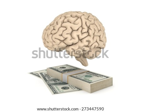 Human brain and big stack of dollars isolated on white. - stock photo
