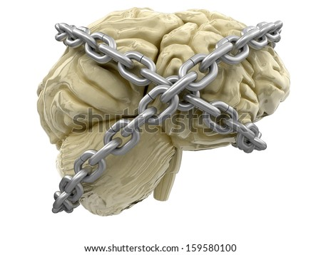 human brain and lock (clipping path included) - stock photo
