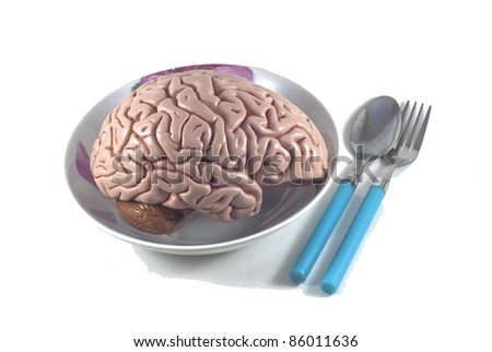 human brain as food with spoon and fork, isolated