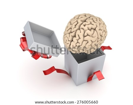 Human brain at a gift box. Isolated on white. - stock photo