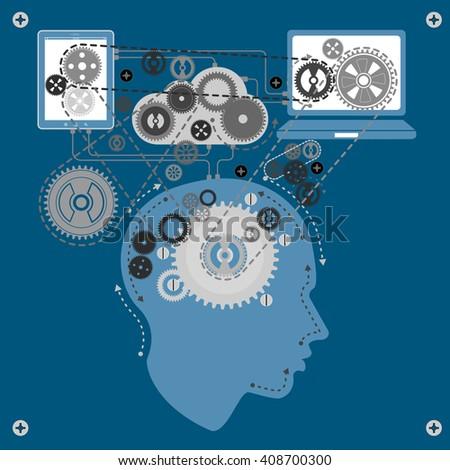 human brain communicating with technology - stock photo