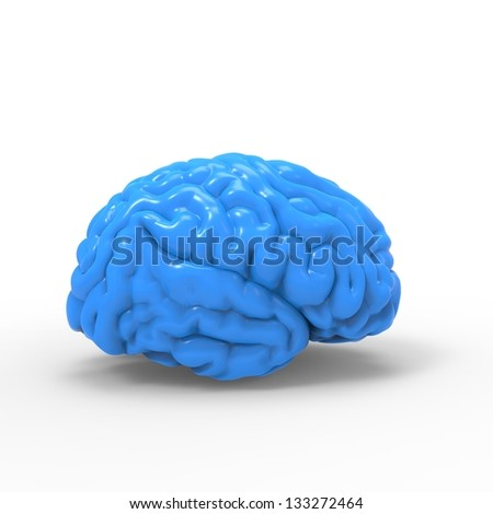 Human brain 3D model, isolated - stock photo