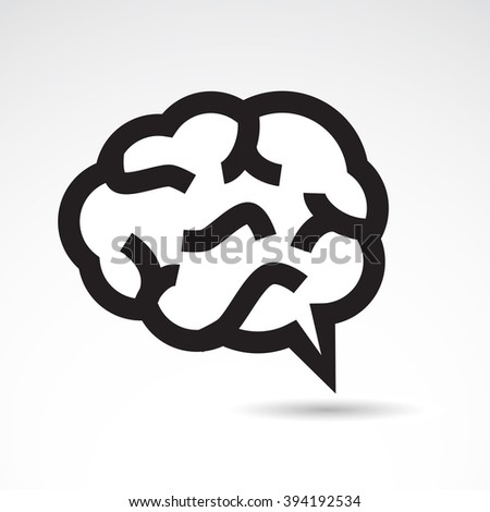 Human brain icon on white background. - stock photo