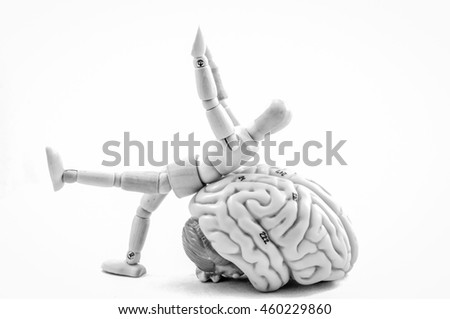 human brain model with black and white color style