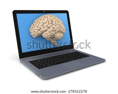 Human brain on a screen of modern laptop. - stock photo