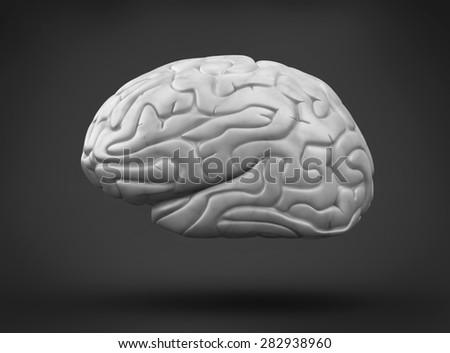 Human brain on black background - stock photo