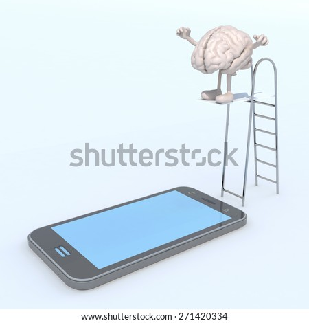 human brain on ladder pool that plunges on the mobile phone screen, 3d illustration - stock photo