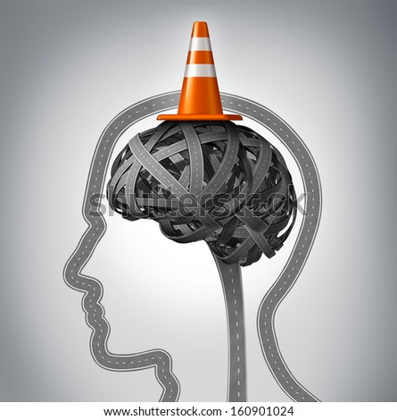 Human brain repair as neurology therapy and memory damage medical concept with an orange traffic cone as a safety hat metaphor on a group of tangled roads in the shape of a human head. - stock photo