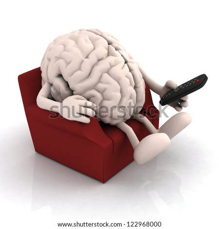 human brain watching television from the couch with remote control on white background, 3d illustration