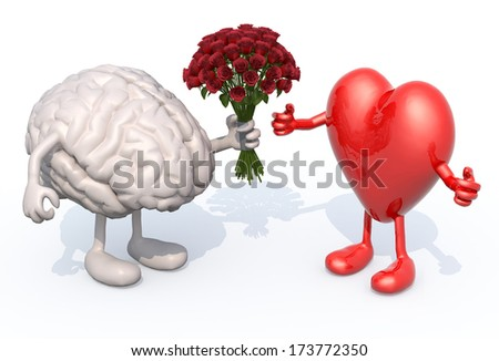 human brain with arms and legs, hands her a bouquet of roses to a heart - stock photo