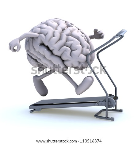 human brain with arms and legs on a running machine, 3d illustration - stock photo