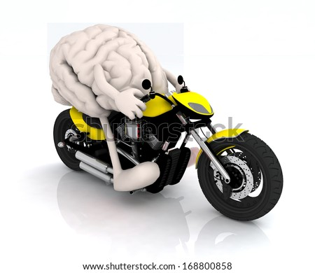 human brain with arms and legs on the motorbike, 3d illustration - stock photo