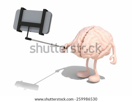 human brain with arms and legs take a self portrait with her smart phone, 3d illustration - stock photo